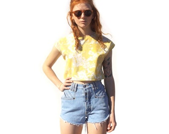 Retro yellow and green floral print cap sleeve crop top UPCYCLED