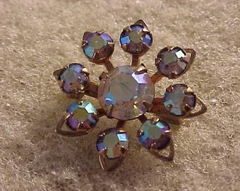 Rhinestone Star Pin Aurora Borealis Stones