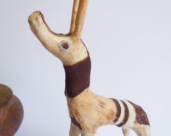 Vintage antelope art sculpture Deer long horned Prong horn animal skin fur hide African Folk art