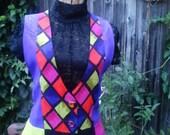 HARLEQUIN - Vintage 1990 vibrant color unisex button down vest, purple, lime green, black, magenta, mens Medium womens Small