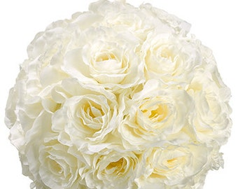 Rose Kissing Ball Cream 7 inches