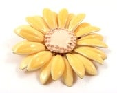 Enamel Flower Brooch, Light Yellow, Daisy, Retro, 1970's, Large Pin, Costume Jewelry, Bridal Bouquet