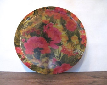 garden parties and afternoon tea tray - vintage 1960s Super Girly Cocktail Tray - Floral Serving Platter - fuchsia, gold + green flowers