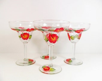 Margarita Glasses Hand Painted Hibiscus Flowers Red Yellow Orange Set of 4