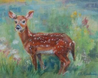 Baby Deer, Fawn painting, baby animal, nursery art, baby, woodland art, nature, child's room, original oil by Carol DeMumbrum