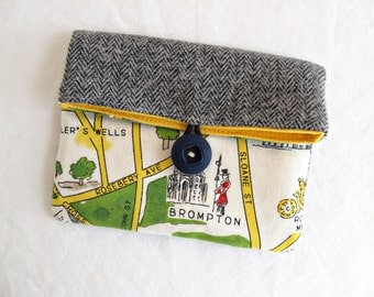 London Map Foldover Button Pouch