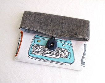 Blue Typewriter Foldover Button Pouch
