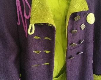 Jacket, Coat. Felt , Silk, Unique, Wool, Purple, Green
