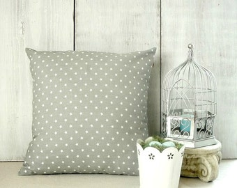 Gray Pillow Cover - Gray and White Stars Throw Pillow - Couch Pillow - Mini Stars - Cottage - Farmhouse - Boys Room