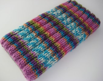 wool iPhone 5 sock - hand knitted cosy - gift for teen - merino wool sock - iPhone 5 case - iPhone SE cosy - mobile phone sock - cell sock