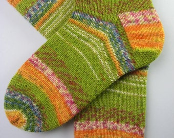 womens wool socks, UK 5-7 US 7-9, green striped socks, patterned socks, hand knitted wool socks, ladies socks, unique knitted socks