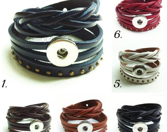 Snap Bracelet, 3 in 1 leather works with 18-20 mm Ginger snaps. Bracelet wraps around twice,has 3 adjustable lengths.