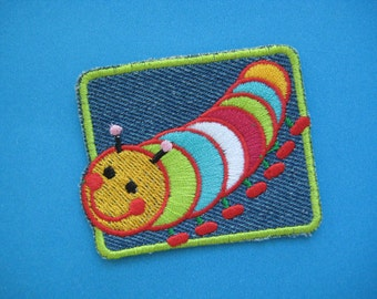 Clearance~ 6 pcs Iron-on Embroidered Patch Lovely Caterpillar 2.5 inch