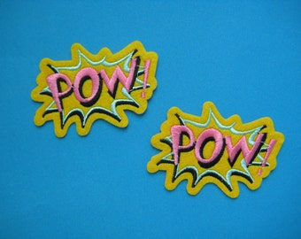 SALE~ 2 pcs iron-on Embroidered Patch POW 3.1 inch
