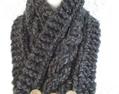 Cabled Buttoned Neck Warmer in Charcoal, Blackstone, or Black