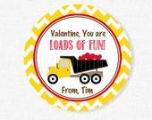 Loads of Fun Valentine Tag, Dump Truck Valentine Tags, Construction Valentine Tag, Boy Valentine Tags, Personalized