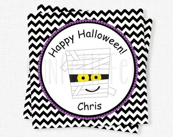 Halloween Mummy Tags, Halloween Candy Labels, Halloween Favor Tags, Trick or Treat Tag, Mummy Halloween Party, Personalized