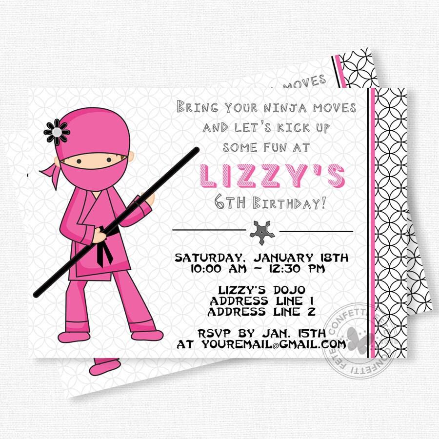 Ninja Birthday Invitation Ninja Party Invitations Girl Ninja - Birthday party invitation girl