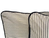 24x24 Black/Cream Striped Cotton Mattress Ticking CushionCover Pillow Sham