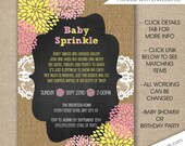 Rustic Chic Baby Sprinkle invitations, FREE SHIPPING digital or printed, pink yellow burlap lace chalkboard, girl baby sprinkle invites