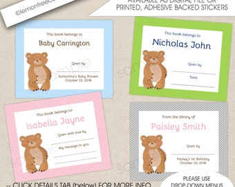 Bear Book plate stickers, ANY COLOR, baby shower bookplates, children's book labels, book baby shower, baby shower book labels