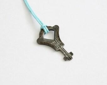 50% half off sale // Vintage Tiny Presto 1155 Luggage Key - Upcycled Necklace on Waxed Aqua Cord