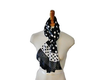 50% half off sale // Vintage 80s Black and White Polkadots Scarf - Oblong