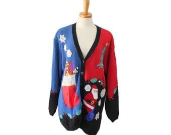 Vtg 90s Santa Bear Snowflakes Ugly Christmas Sweater // Women Men XL // tacky Busy, Yarnworks