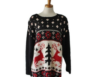 Vintage 80s Nordic Reindeer Sweater - Busy Design - Women 2XL - ugly Christmas, black red
