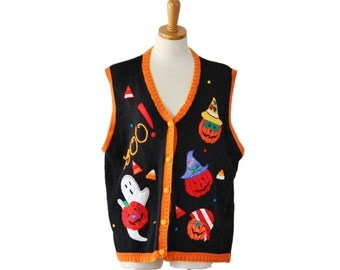 Vintage 90s Pumpkins Ghosts Halloween Sweater Vest - Women XL - Busy, Yarnworks