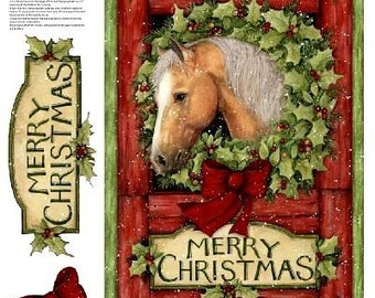 Welcome Wreath Christmas Horse Quilt Panel Susan Winget Plus Backing