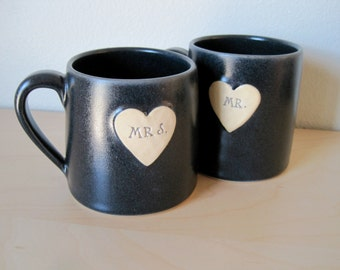 2015 Newlywed Couple Mr. and Mrs. mug set In Charcoal Gray Just married, Ready to Ship