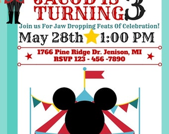 Mickey Circus Birthday Invitation