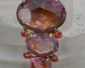 1940's Lavender and Pink Stone Dress Clip