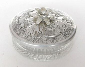Pretty Silver Covered Glass Dish