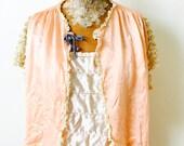 1920s vintage peach satin bed jacket with ecru lace Ruffles/ velvet ribbon/vintage boudoir/ Lingerie