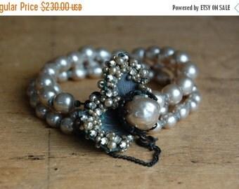 SALE Vintage signed Miriam Haskell 1950s triple strand baroque pearl bracelet