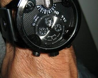 Black Leather Watch-army military-Black Watch-Men's Watch-Gifts-Men's Gifts-Cuff Watch-Wrist Watch Woman-Women Watch-Men's Watch-Watches