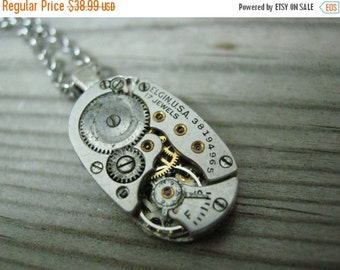 Men's Steampunk Watch Movement Necklace - Real watch gears - watch movement Necklace - Watch Gear Necklace-Steampunk Gears - Gothic Necklace