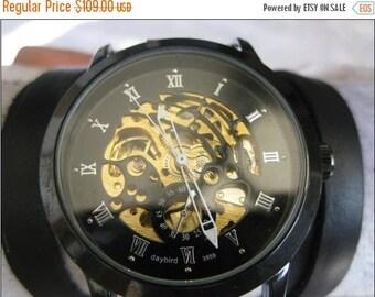 Gunmetal Skeleton Watch Steampunk Mechanical Bracelet Watch- brown Genuine leather retro Watch-bracelet Cuff Watch-Men's Women's wrist watch