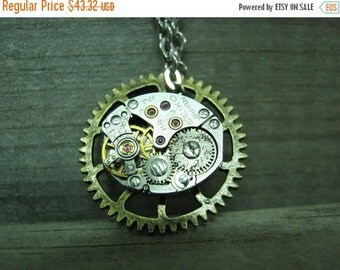 Men's Steampunk Watch Movement Necklace Real watch gears watch movement Necklace Watch Gear Necklace Steampunk Gears Gothic Necklace