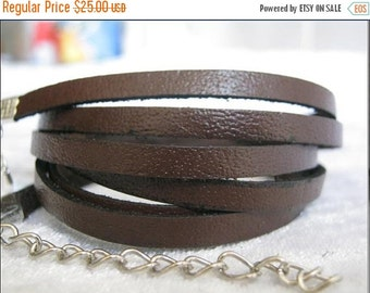 Leather Wrap Bracelet 5mm dark brown Handmade 5mm real leather multi Wrap thin gentle leather Bracelet WORLDWIDE FREE SHIPPING