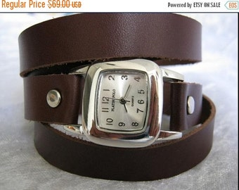 Leather Wrap Watch Silver Bracelet Antique Watch- brown Genuine leather retro Watch- bracelet Cuff Watch- Men's Women's unisex wrist watch