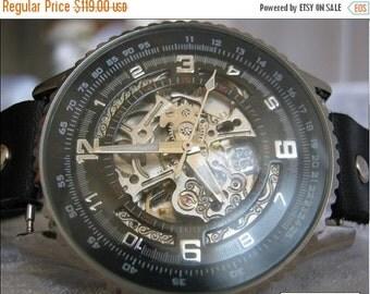 Steampunk Skeleton Leather Watch Mechanical Mens Mechanical wristwatches Steampunk Watch Black -Wrist Watches-Men's Women's Retro Watches