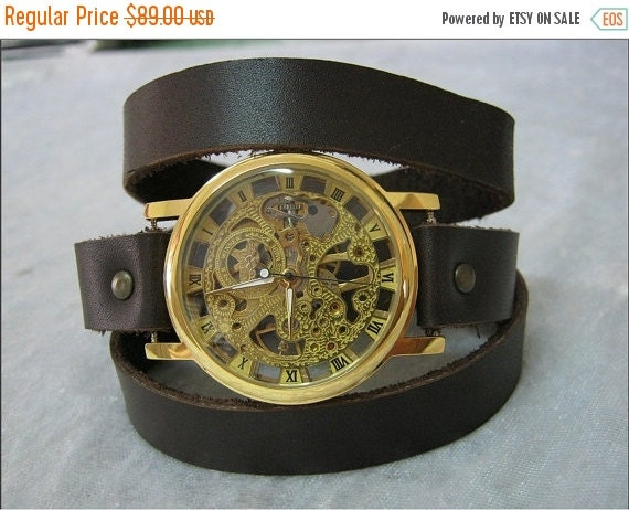 Steampunk Leather Watch for men,women,mechanical wrist watch, skeleton watch,steampunk cuff watch,exposed gears personalized watch,mens gift