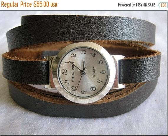 Leather Watch-Women wrist watch-Leather Wrap Watch Silver Bracelet Antique Watch- brown Genuine leather retro Watch- bracelet - wrist watch