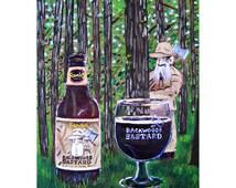 Michigan Beer Art, Backwoods Bastard Beer Painting, Founders Brewing, Craft Beer Gift, Cabin Painting, Beard Art, Beer Art, Forest Painting