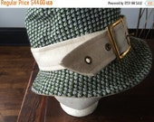 Frank Olive Tweed Wool Hat Green Ivory Buckle 1960s Millinery