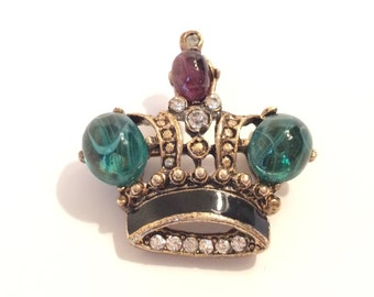Crown Figural Rhinestone Brooch 1960s Scatter Pin Royal