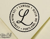 Address stamp - Round Return Address Stamp - Custom Self inking address stamp - Monogram Address Stamp (G4532) Calligraphy Address Stamp